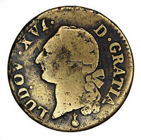 1791 ONE SOL COIN WITH LOUIS XVI D GRATIA FROM FRANCE