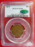 1871 TWO CENT PCGS EXTRA FINE  45 CAC CERT 24965293