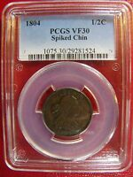 1804 SPIKED CHIN HALF CENT PCGS VF 30 CERT 29281524