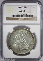 1860 O LIBERTY SEATED S$1 NGC CERTIFIED AU 53 ABOUT UNCIRCULATED SILVER DOLLAR