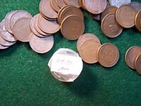 1939 D  LINCOLN WHEAT CENT  ROLL 50 COINS IN XF  AU CONDITION