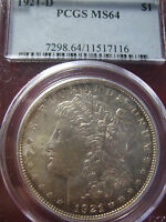 1921 D MORGAN DOLLAR CERTIFIED PCGS MS 64