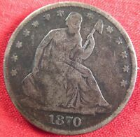 1870 SEATED LIBERTY HALF DOLLAR DARK 2064
