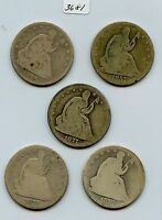 1857 1860 O 1876 P&S & 1877 S SEATED 50C 3681 LOWER GRADE. SOME CLEANED OR
