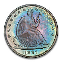 1891 50C LIBERTY SEATED HALF DOLLAR PCGS PR66 TONER PQ 1650 27