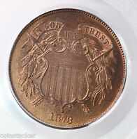 1873 2 CENT PIECE 2C CLOSED 3 PCGS CAC CERTIFIED PR64RB RED BROWN COPPER COIN