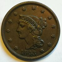 1843 BRAIDED HAIR LARGE CENT NICE
