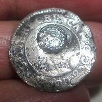 1843 COSTA RICA 1/2 REAL SILVER W/ COUNTERMARK LION    VERY