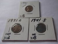 LINCOLN CENTS 1941,1941 D,1941 S SET L 266  CIRCULATED