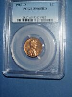 1963 D 1C RD LINCOLN CENT PCGS MS65RD  207 2B