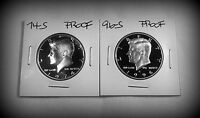 2 COIN SET 1974 S AND 1996 S KENNEDY PROOF HALF $$ GEM DEEP CAMEO