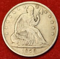 1859 O SEATED LIBERTY HALF DOLLAR F BEAUTIFUL COIN CHK OUT STORE   $ SH19