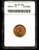 1949 S 1C LINCOLN WHEAT CENT MS65 RED ANACS 1431208