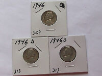 JEFFERSON NICKEL SET 1946 1946 D 1946 S SET  J 921B  CIRCULATED