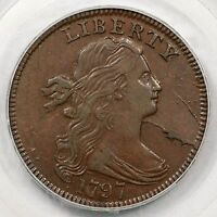1797 S-126 R-3 PCGS EXTRA FINE  45 REV OF 1797, STEMS DRAPED BUST LARGE CENT COIN 1C