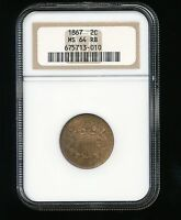 1867-P TWO CENT PIECE 2C NGC MINT STATE 64 RED BROWN RB