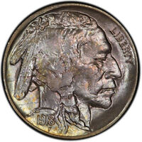 1918 S 5C BUFFALO NICKEL PCGS MS65 CAC COLOR PLUS 1730 9