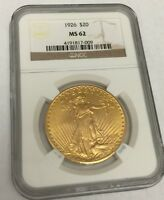 1926 $20 GOLD COIN ST. GAUDENS NGC MS62