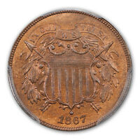 1867 2C TWO CENT PIECE PCGS MINT STATE 66RB