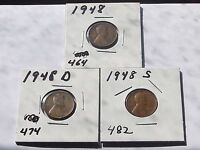 CYBER MONDAY LINCOLN CENTS 1948 1948 D  1948 S SET L  310 CIRCULATED