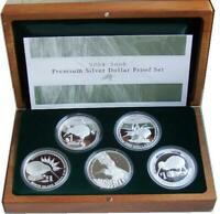 NEW ZEALAND    2004 TO  2008  KIWI PROOF COIN SET   1 OZ KIWI COINS