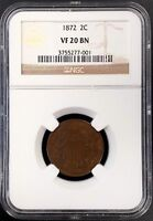 1872 TWO CENT PIECE CERTIFIED VF 20 BN BY NGC A MINTAGE OF JUST 65,000