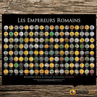 LES EMPEREURS ROMAINS   COIN WALL POSTER   THE ROMAN EMPERORS FRENCH VERSION