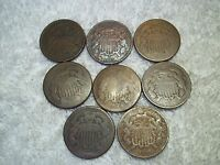 1864 - 1870 US TWO CENT 2C  LOT OF 8 PARTIAL DATE WELL CIRCULATED 2C5.36.25