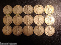 15 DIFFERENT 1917-1940-S WALKING LIBERTY HALF DOLLARS SOME BETTER COINS INCLUDED