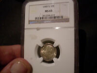 1949 S NGC ROOSEVELT DIME MINT STATE  65