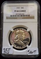 1957 FRANKLIN HALF DOLLAR NGC PF66 CAMEO SUPER DYNAMIC MIRROR TINY SPEC REV RIM