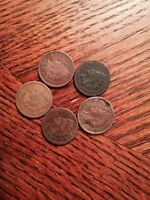 FIVE INDIAN HEAD CENTS 1887 88 90 95 AND 1899