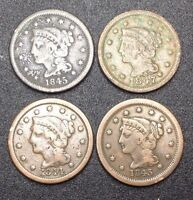 BRAIDED HAIR LARGE ONE CENT COINS. 1843 1844 1845 1847. 4 COINS