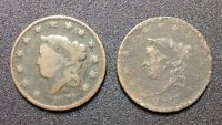 1829 1817 CORONET HEAD LARGE CENT. 2 COIN SET