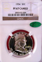 1954 FRANKLIN PROOF SILVER HALF DOLLAR NGC PF67 CAMEO CAC BEAUTY