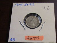 1914 CANADIAN SILVER FIVE CENT COIN  EXCELLENT CONDITION   ZBH1719
