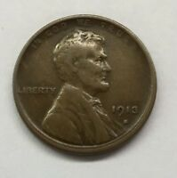 1913-S LINCOLN WHEAT CENT.  CIRCULATED COIN