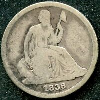 1838 O VG 10C SILVER SEATED LIBERTY DIME