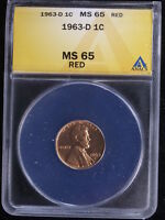 1963-D 1C RD LINCOLN CENT ANACS MINT STATE 65