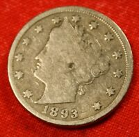 1893 LIBERTY V NICKEL F  DATE BEAUTIFUL COLLECTOR COIN GIFT  $ LN351
