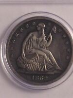 1862 S 50C SEATED LIBERTY HALF DOLLAR CLEANED