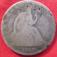 1869 SEATED LIBERTY HALF DOLLAR WITH MOTTO REV SCRATCHES 2129