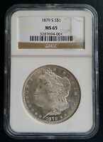 1879-S $1 MORGAN SILVER DOLLAR NGC MINT STATE 65