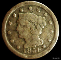 1851 BRAIDED HAIR 1C  LARGE CENT OLD US COPPER PENNY SHARP DETAILS