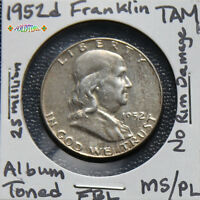 1952 D FRANKLIN HALF DOLLAR MS FBL PROOF TONE DATE SILVER COIN MY0 SAVE$ LOT TAM