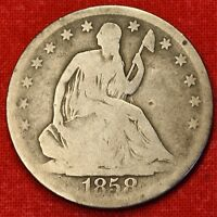 1858 O SEATED LIBERTY HALF DOLLAR G BEAUTIFUL COIN CHK OUT STORE   $ SH16