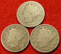 1897, 1898, 1899 LIBERTY V NICKEL G  DATES COLLECTOR, 3 COINS LN456