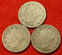 1897, 1898, 1899 LIBERTY V NICKEL G  DATES COLLECTOR, 3 COINS LN457
