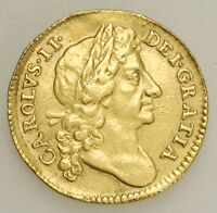 1676 POSSIBLY OVER 1674 CHARLES II GOLD HALF GUINEA COIN