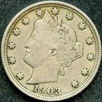 1903 EXTRA FINE  5C LIBERTY HEAD NICKEL